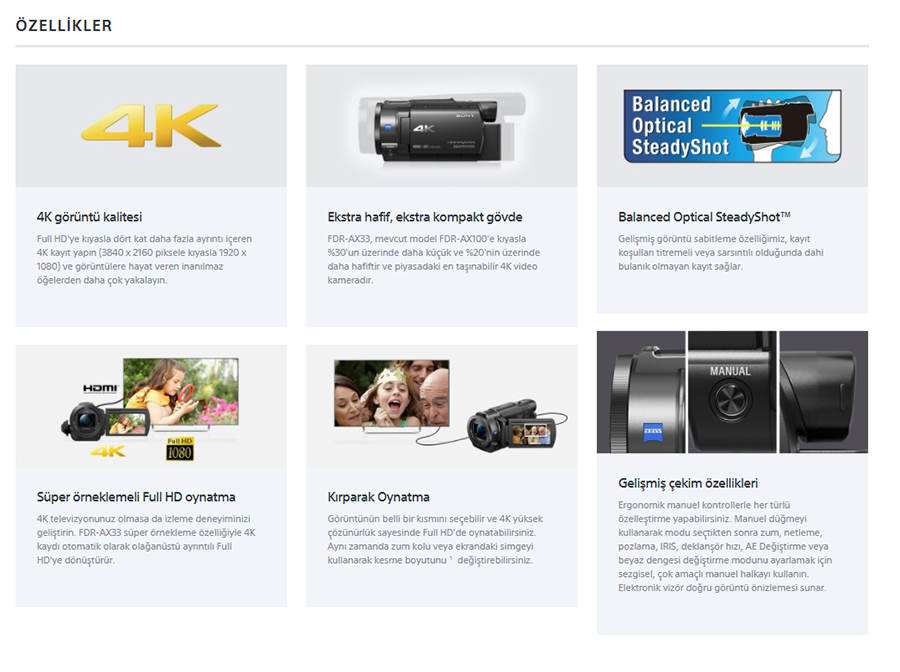 Sony FDR-AX33 4K Ultra HD Video Kamera-ozellikleri